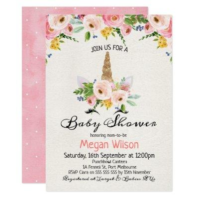 Watercolor Roses Unicorn Baby Shower Invitations