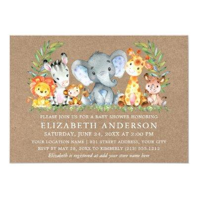 Watercolor Safari Animals Baby Shower Kraft Invitation