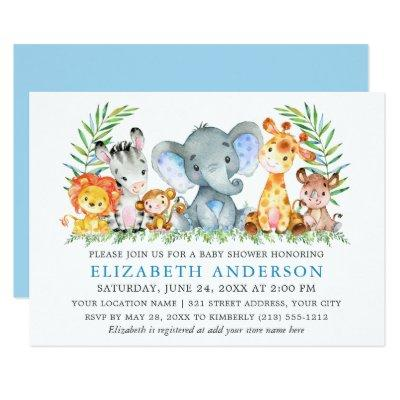 Watercolor Safari Animals Baby Shower Light Blue Invitation