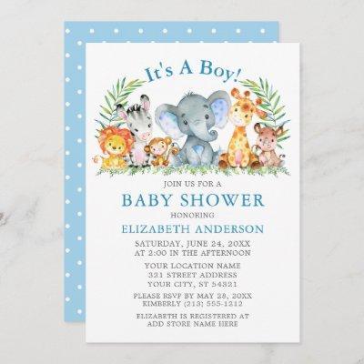 Watercolor Safari Animals Blue Dots Baby Shower Invitation