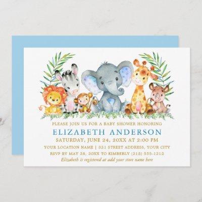 Watercolor Safari Animals Blue Gold Baby Shower Invitation