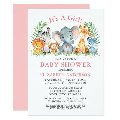 Watercolor Safari Animals Girl Pink Baby Shower Invitation