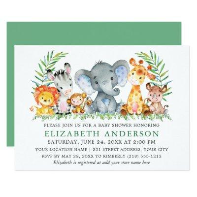 Watercolor Safari Animals Greenery Baby Shower Invitation
