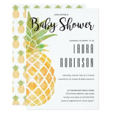Watercolor Stencil Pineapple Baby Shower Invitation