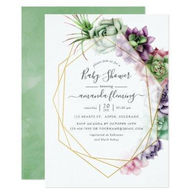 Watercolor Succulent Geometric Baby Shower Invitation