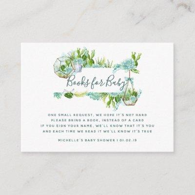 Watercolor Succulents Baby Shower Book Request Enclosure Card