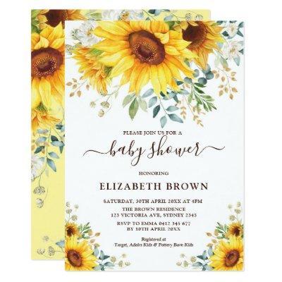 Watercolor Sunflower Greenery Garden Baby Shower Invitation