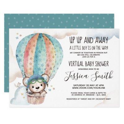 Watercolor Teddy Bear | Virtual Baby Shower Invitation