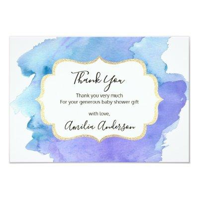 Watercolor THANK YOU Blue White BOY baby shower Invitations