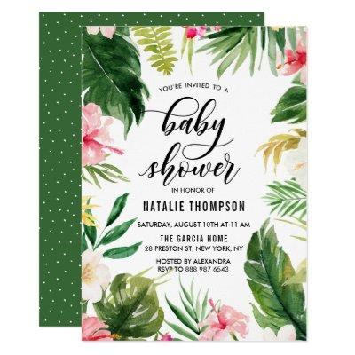 Watercolor Tropical Floral Frame