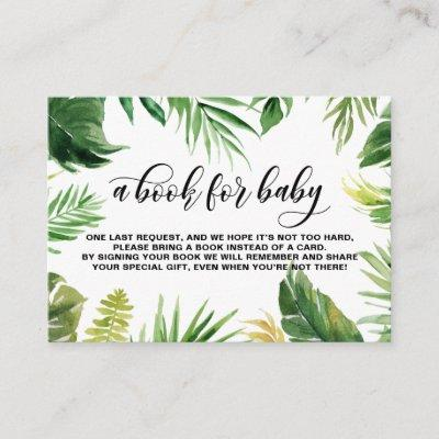Watercolor Tropical Leaves Frame Baby Book Request Enclosure Card