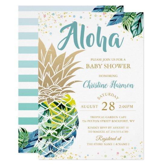 Watercolor Tropical Pineapple Beach Baby Shower Card