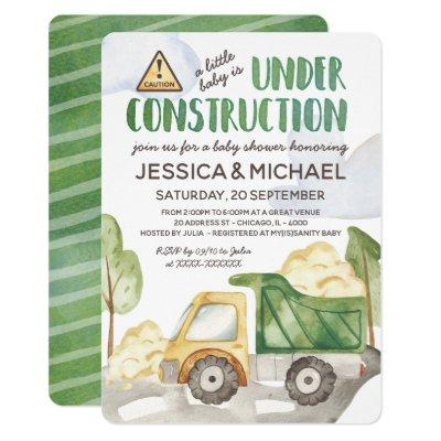 Watercolor Under Construction Truck Baby Shower Invitation