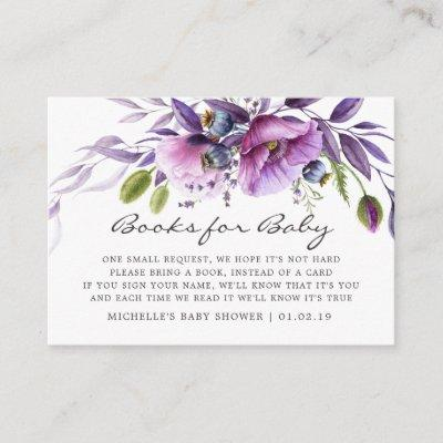 Watercolor Violet Floral Baby Shower Book Request Enclosure Card