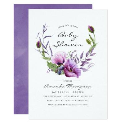 Watercolor Violet Poppy Floral Baby Shower Invite