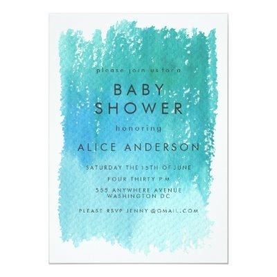 Watercolor Wash Blue Baby Shower Invite