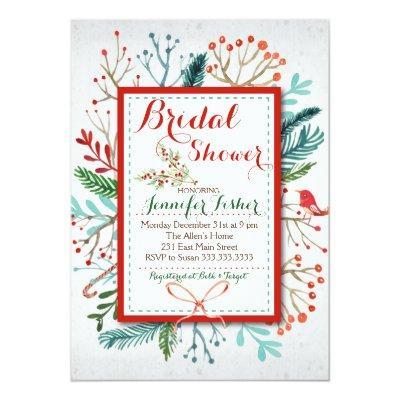 Watercolor Winter Floral Bridal Shower Invitations