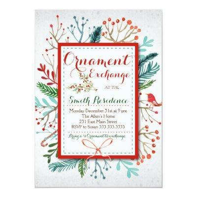Watercolor Winter Floral ornament exchange Invitations