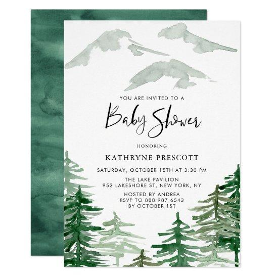 Watercolor Woodland Baby Shower Invitation