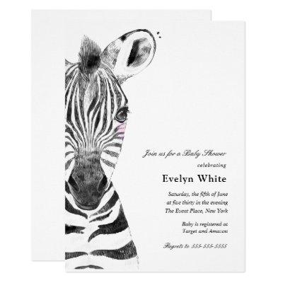 Watercolor Zebra | Baby Shower invitation