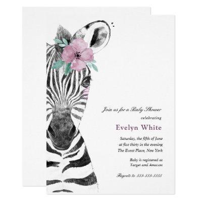 Watercolor Zebra | Baby Shower invitation