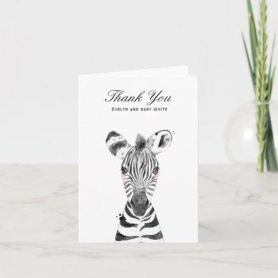 Watercolor Zebra | Baby Shower Thank You card