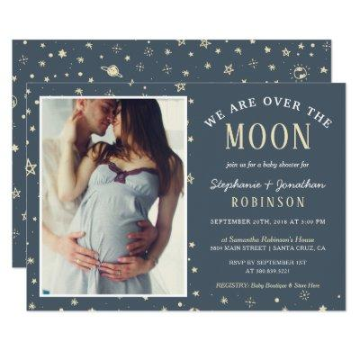 We Are Over The Moon Photo Baby Shower Invitation