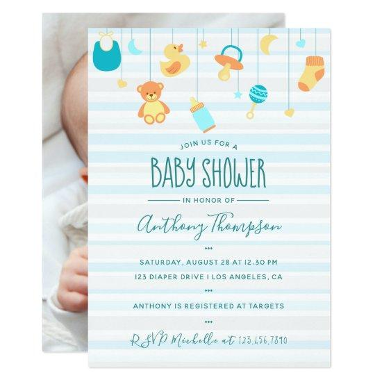 Welcome Baby Boy Arrival Shower Personal Add Photo Card