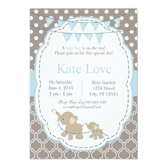 Welcome Baby Boy Elephant 5 X 7 Invitations