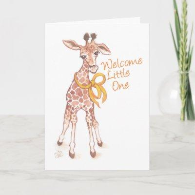 Welcome Little One Cute Giraffe Baby Shower Invitation