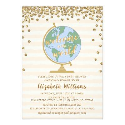 Welcome to the World Globe Baby Shower Invitation