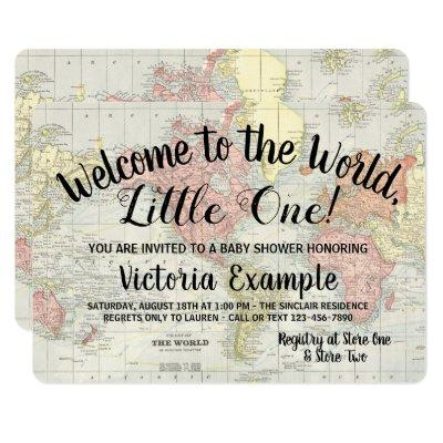 Welcome to the World Map Baby Shower Invitations