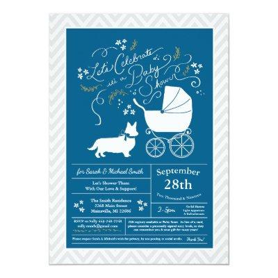 Welsh Corgi Dog Baby Shower Blue Boy Invitation