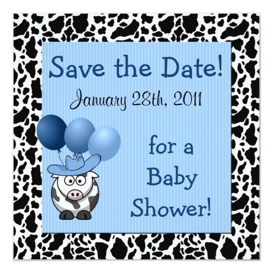 Western Baby Shower Save The Date Blue Card Baby Shower Invitations