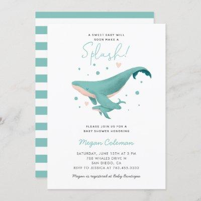 Whale Baby Shower Blue Nautical Invitation
