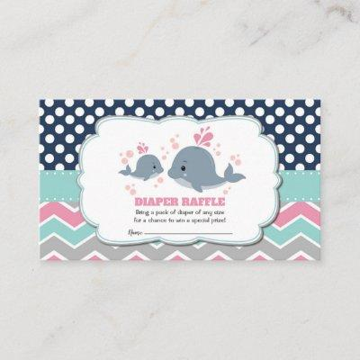 Whale Baby Shower Diaper Raffle Ticket Insert Girl