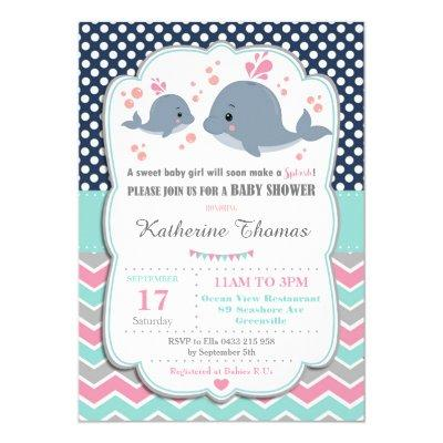 Whale Baby Shower Invitation Baby Girl Pink Polka