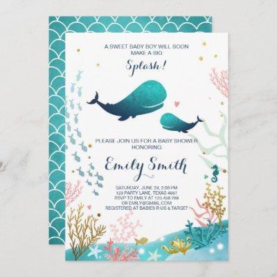 Whale Baby Shower Invitation Ocean Ahoy Boy Cute