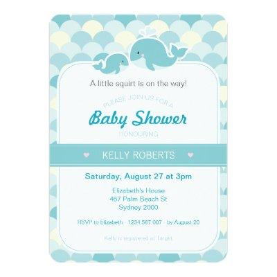 Whale Baby Shower Invitation - Turquoise