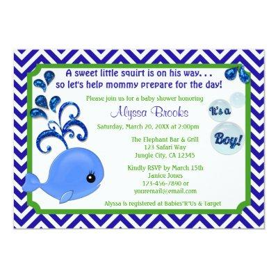 Whale Baby Shower Invitations Chevron Blue Green