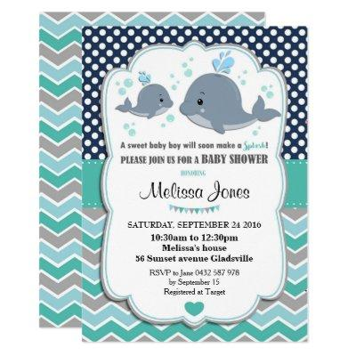 Whale Baby Shower Personalized Invitations Baby Boy
