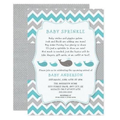 Whales baby sprinkle invitation, neutral gender invitation