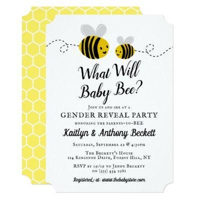 Bee Gender Reveal Baby Shower Invitations Baby Shower Invitations