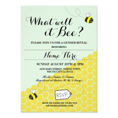What Will It Bee Honey Baby Shower Party Invite