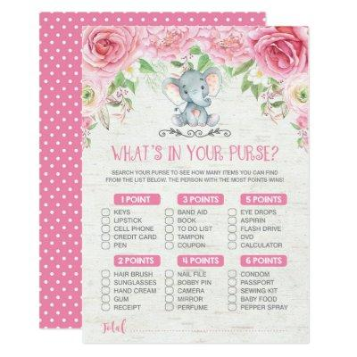 What's in Your Purse Elephant Baby Shower Game Invitations