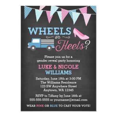 Wheels or Heels Gender Reveal Party Invitations