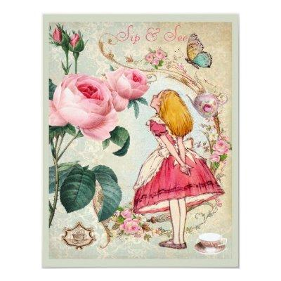 Whimsical Alice in Wonderland Collage Sip & See Invitations