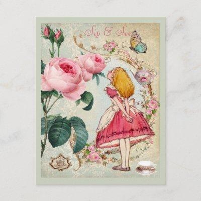 Whimsical Alice in Wonderland Collage Sip & See Invitation