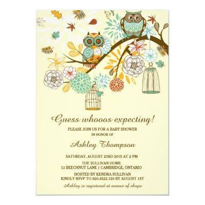 Whimsical Autumn Owls Baby Shower Invitations