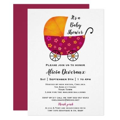 Whimsical Baby Carriage Fun Baby Shower Invitation